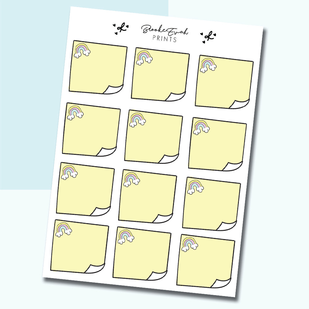 Rainbow Sticky Note Stickers- BEP31 - BrookeEvahPrints