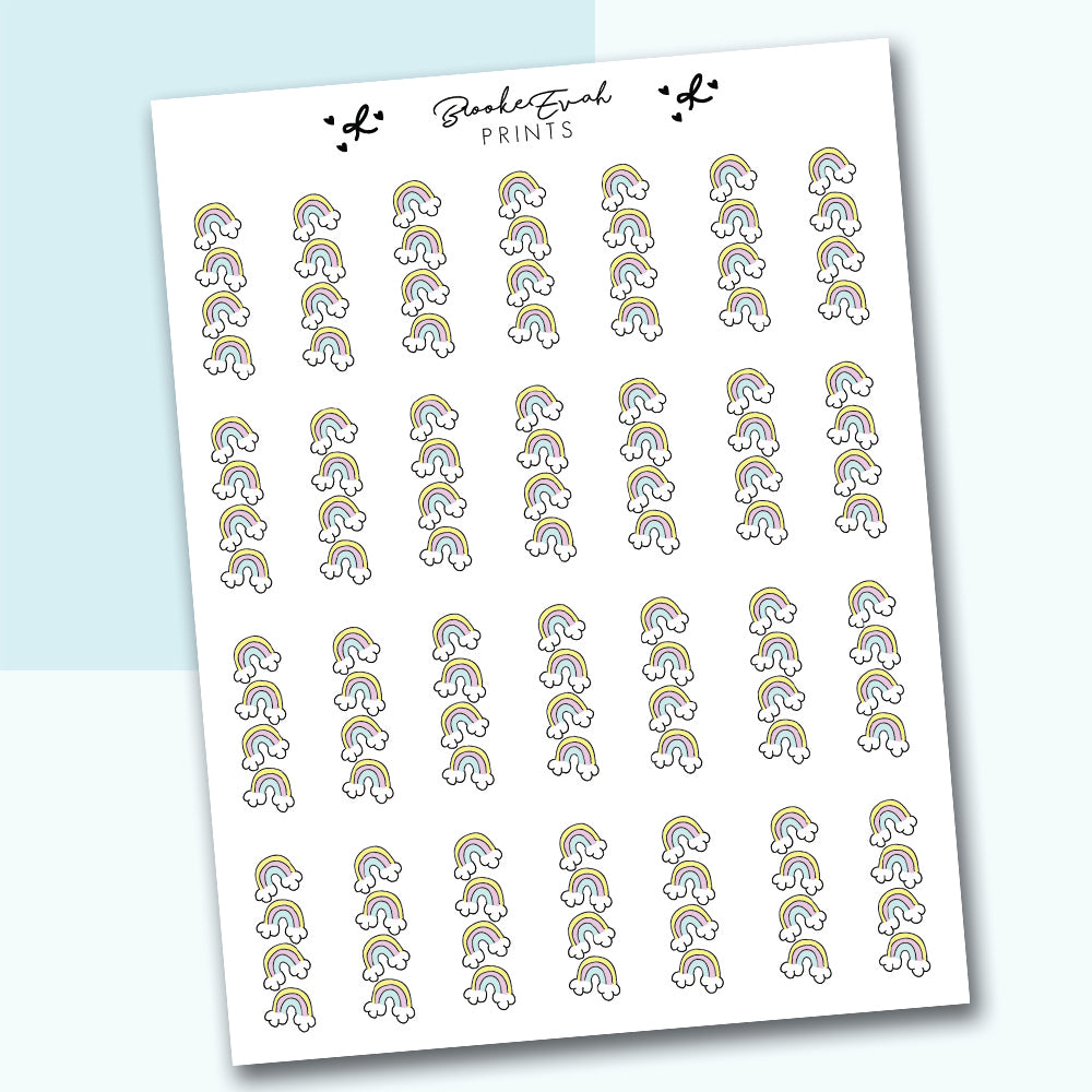 Rainbow Checklist Stickers- BEP32 - BrookeEvahPrints