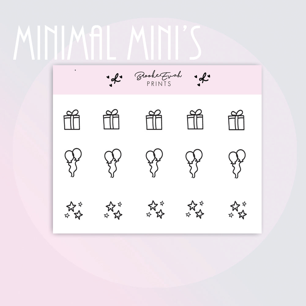 Mini Party Doodle Stickers-  BEPM149