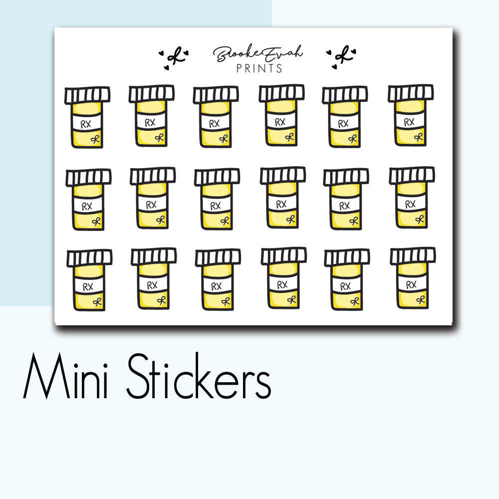 Mini Pill Bottle Stickers-  BEPM16 - BrookeEvahPrints