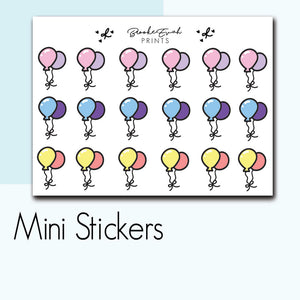 Mini Party Balloon Stickers-  BEPM23 - BrookeEvahPrints