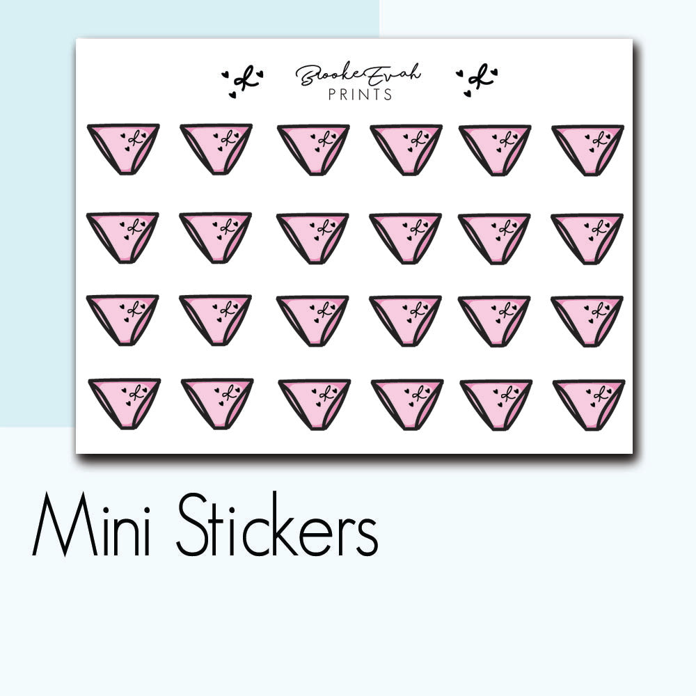 Mini Panty Stickers-  BEPM25 - BrookeEvahPrints