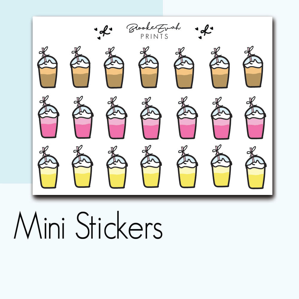 Mini Iced Coffee & Smoothies Doodle Stickers-  BEPM29 - BrookeEvahPrints
