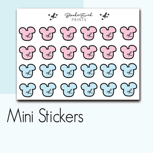 Mini Disney Mickey Mouse Doodle Stickers-  BEPM30 - BrookeEvahPrints