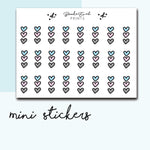 Mini Heart Checklist Stickers-  BEPM39 - BrookeEvahPrints