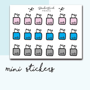 Mini Sick Day Stickers-  BEPM42 - BrookeEvahPrints