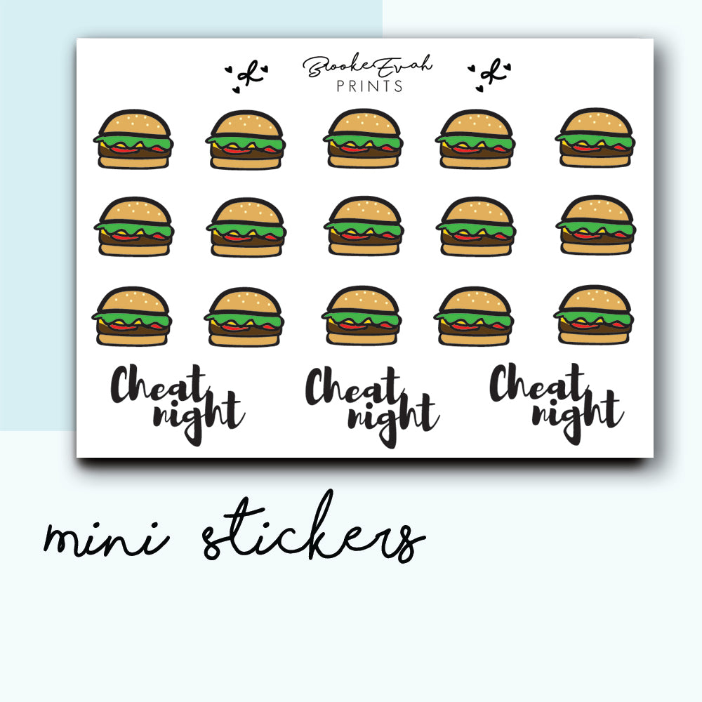 Mini Burger Stickers-  BEPM71 - BrookeEvahPrints