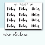 Mini Notes Stickers-  BEPM72 - BrookeEvahPrints