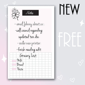 Freebie Notes Insert- Personal Wide Rings