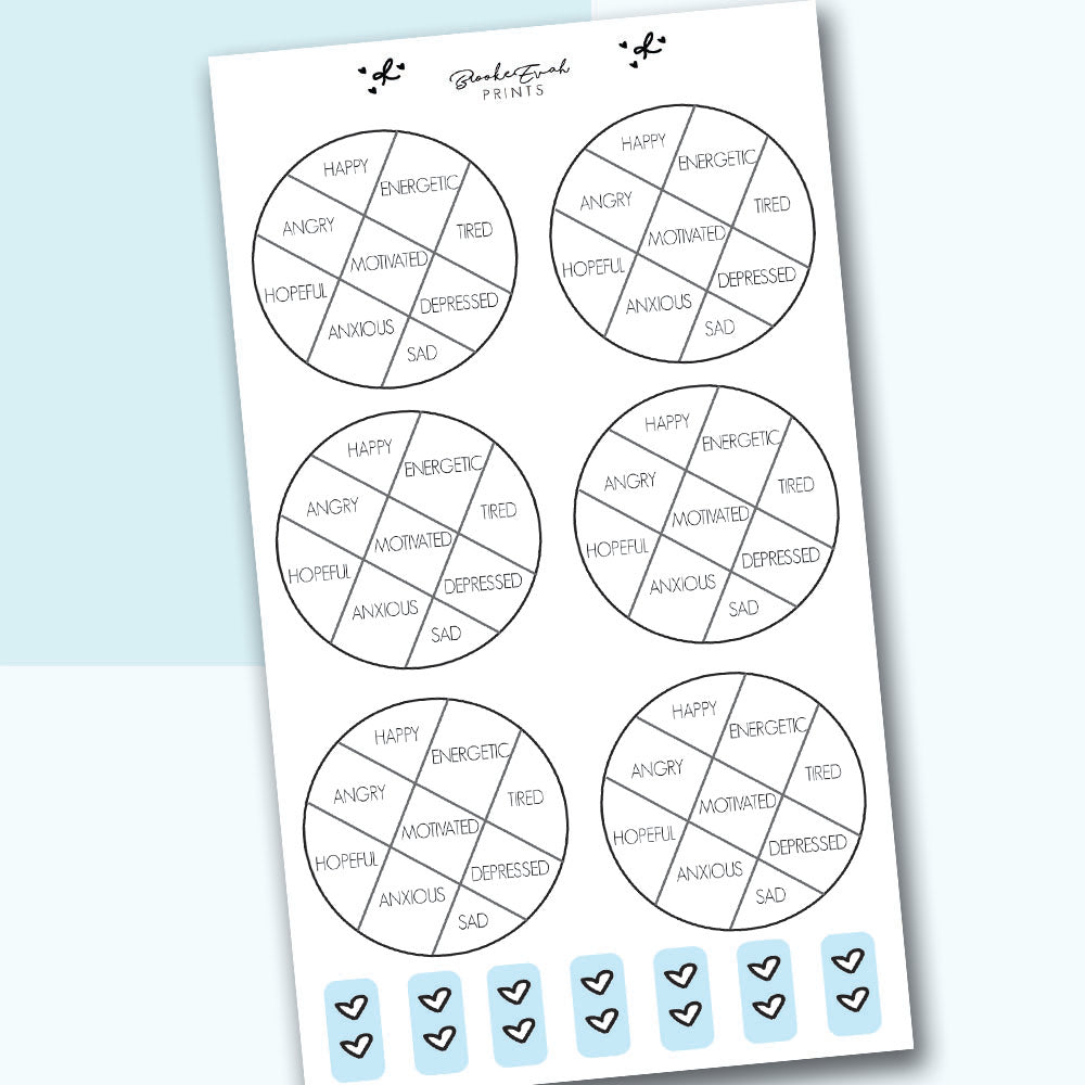 Mood Tracker Stickers - H18 - BrookeEvahPrints
