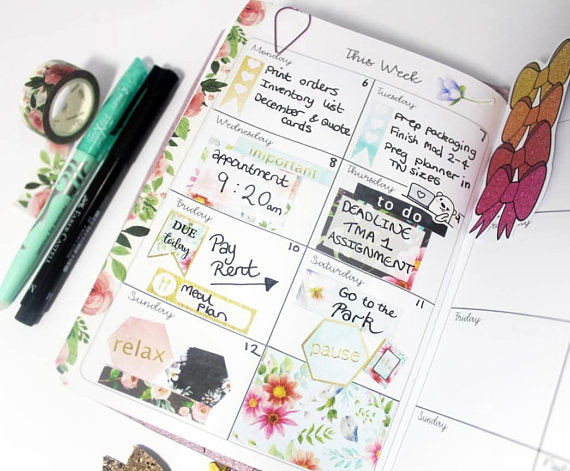 Box Style Weekly Planner - BrookeEvahPrints