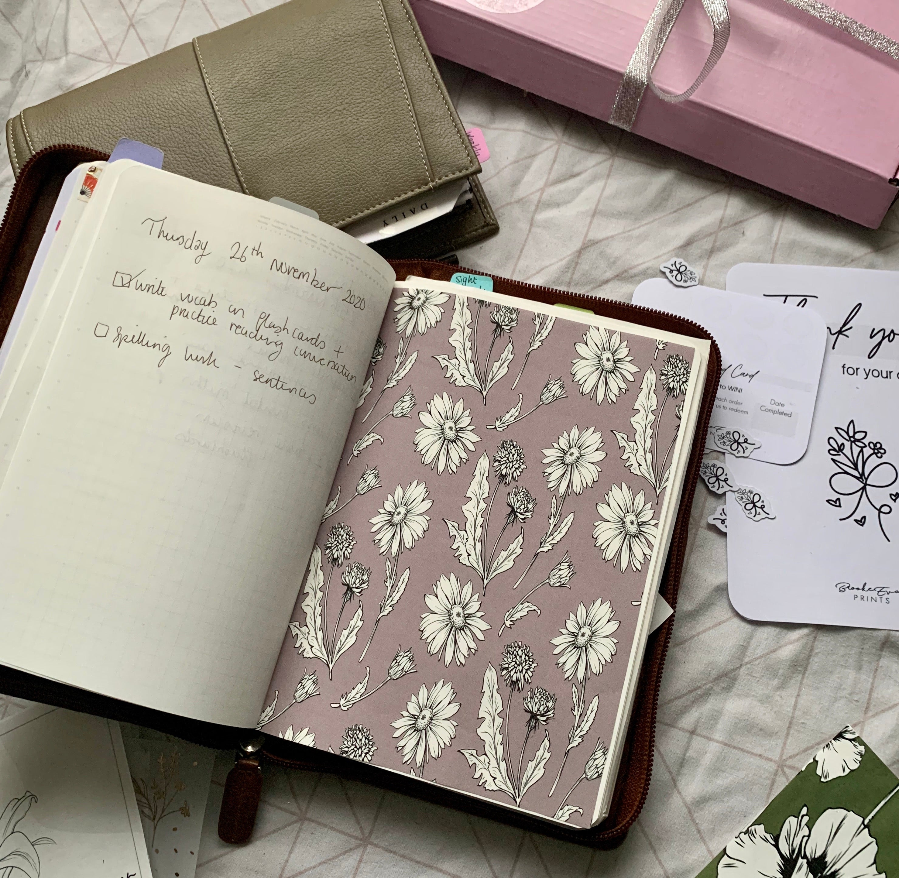 Printed Tomoe River Paper Planner Dashboards- Mauve Flora