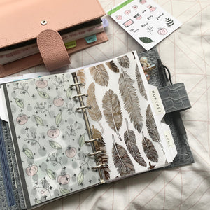 Printed Vellum Planner Dashboards - Feathers