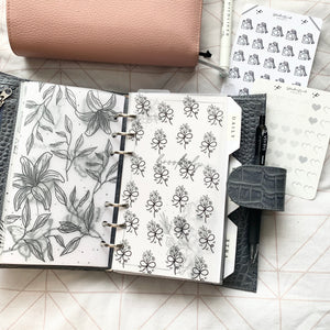 Printed Vellum X Acetate Planner Dashboard- Bow florals