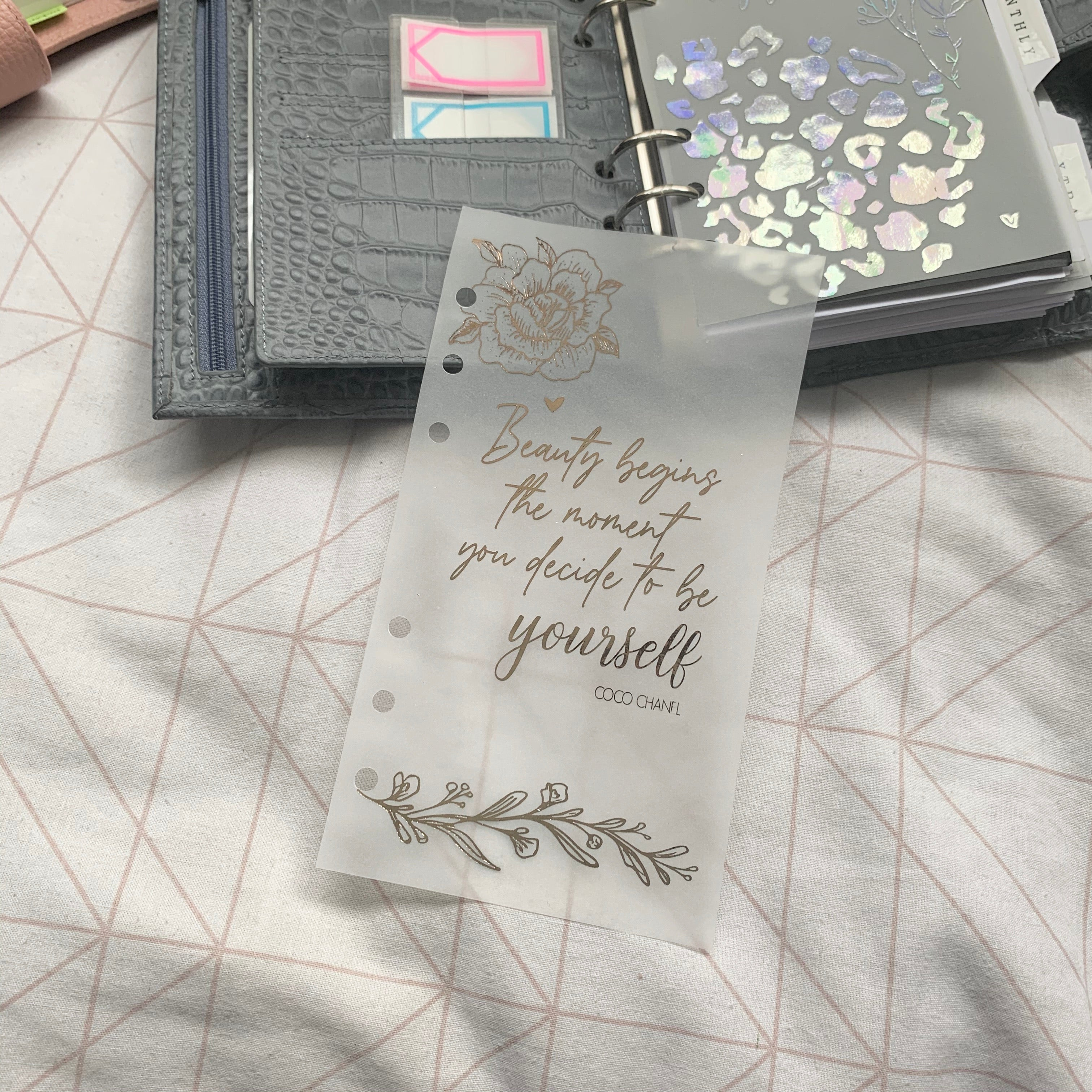 Printed Vellum Planner Dashboards - Coco Chanel Quote
