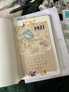 Free April 2021 Calendar Postcard - Vintage Style - SUNDAY START