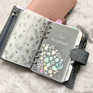 Printed Vellum Planner Dashboards - Choose Happiness leopard X floral design