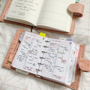 Daily timed with Blush Pink Ring Planner Inserts