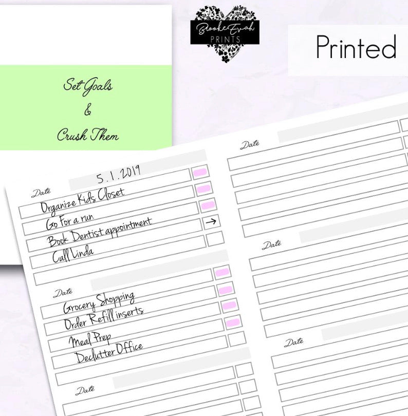 To Do List- Goal Tracker Planner Insert