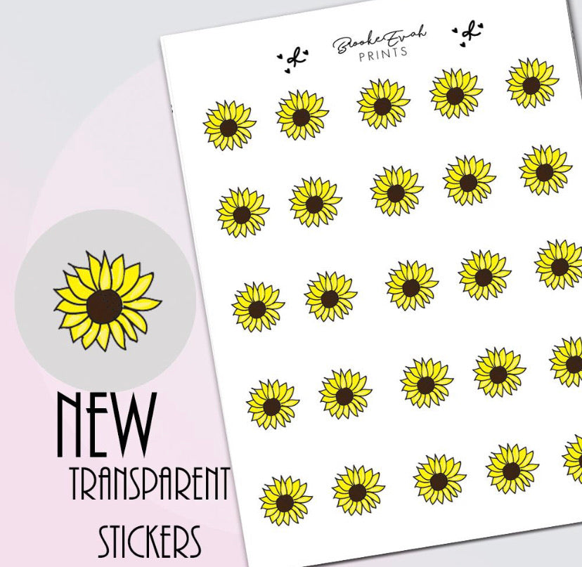 Transparent Sunflower doodle Stickers