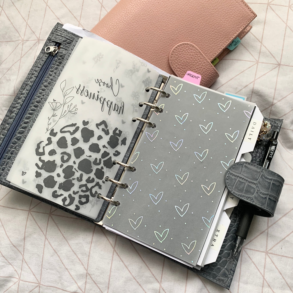 Printed Vellum Planner Dashboard- Hearts X Dots
