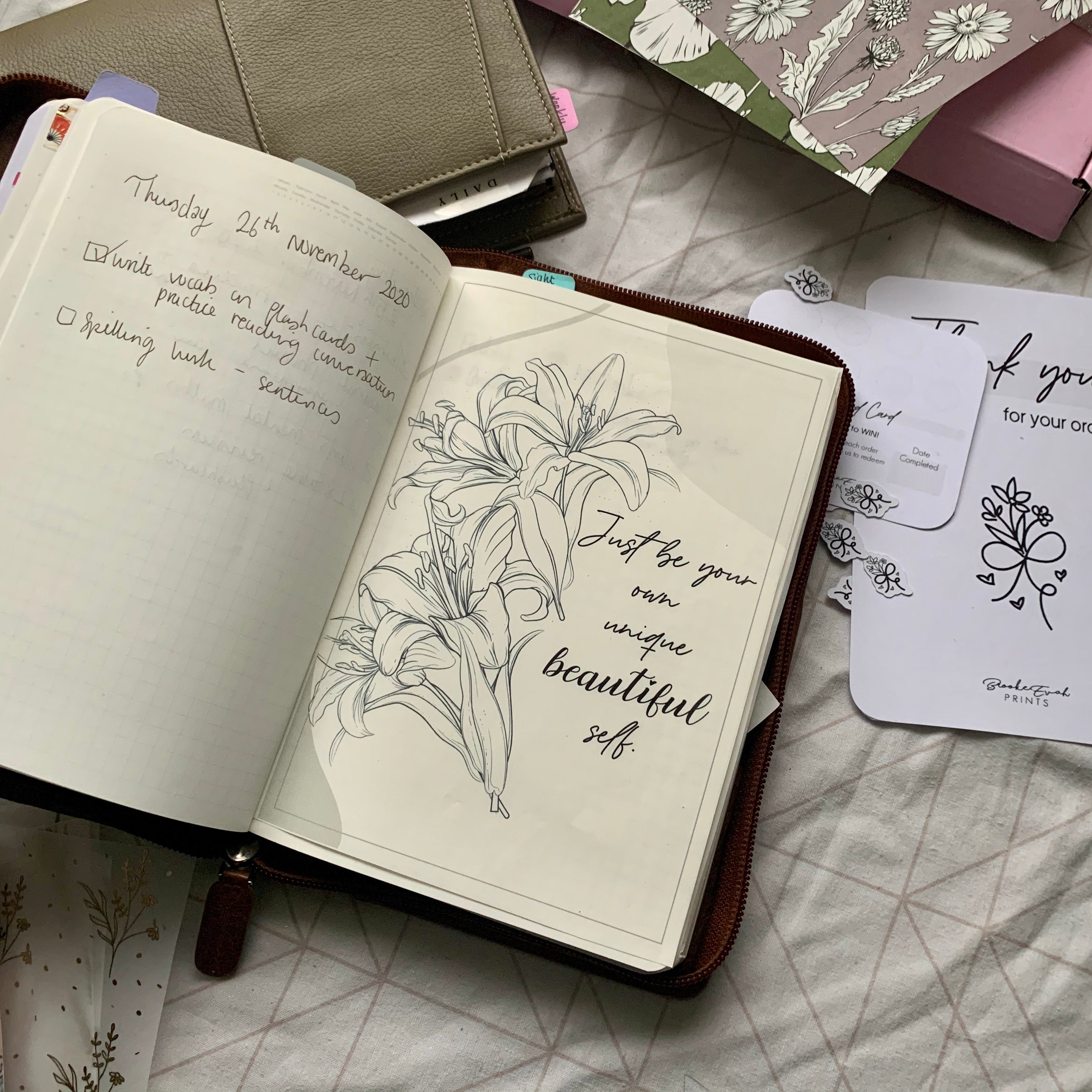 Printed Tomoe River Paper Planner Dashboards - Just be your own unique beautiful self