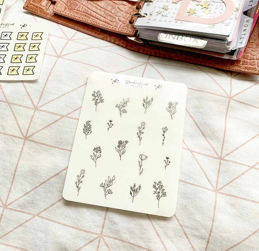 Clear Floral Stickers