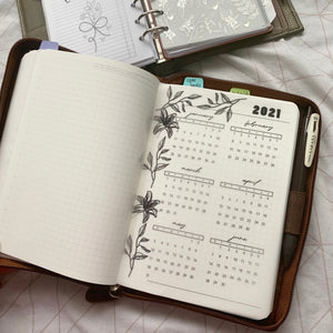 Printed Vellum Planner Dashboards - 2021 Jan- June Calendar