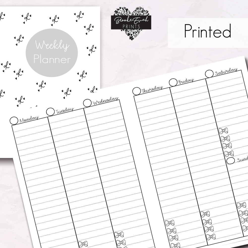 Weekly Vertical Planner- Bows - BrookeEvahPrints
