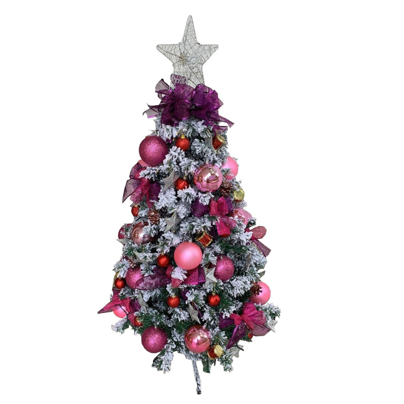 Flocked Christmas Tree in Pink And Purple (Artificial)