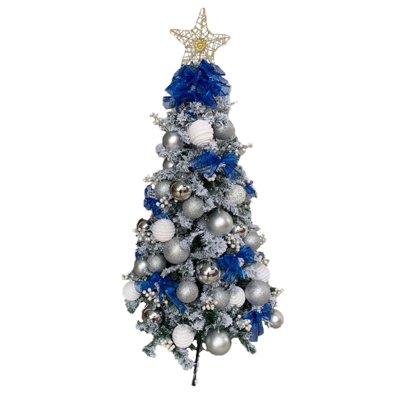 Flocked Christmas Tree in Blue And White (Artificial)