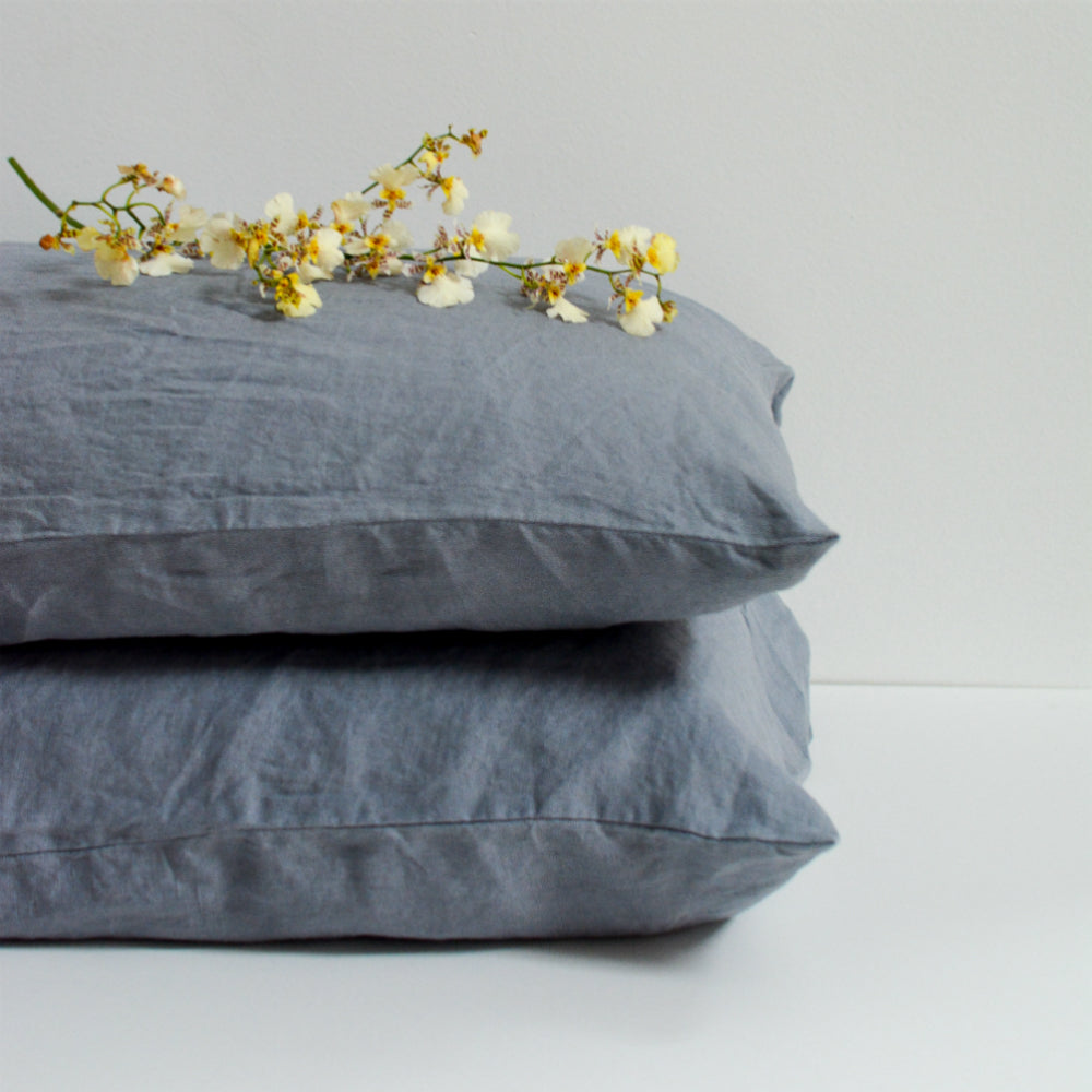 Annette French Linen Duvet Cover Set  - Slate Blue