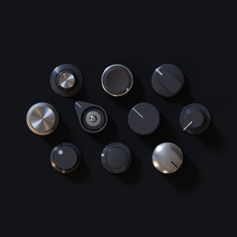 3D knobs models set
