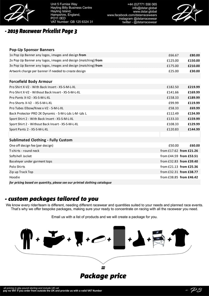 price list - dstar speedway racesuit - kevlar - bike covers