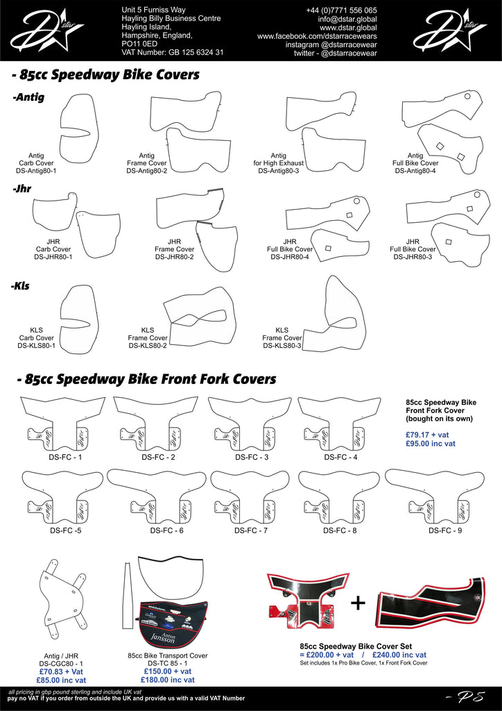 85cc 2 stroke Speedway Bike covers - Fork cover