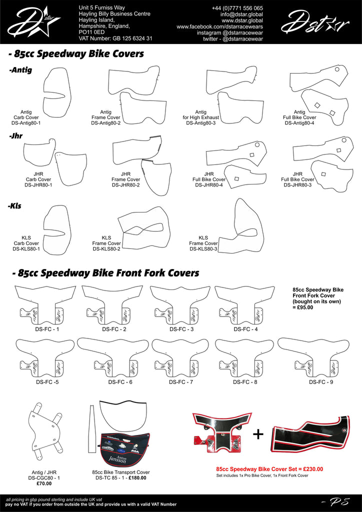 85cc junior 2 stroke speedway bike covers