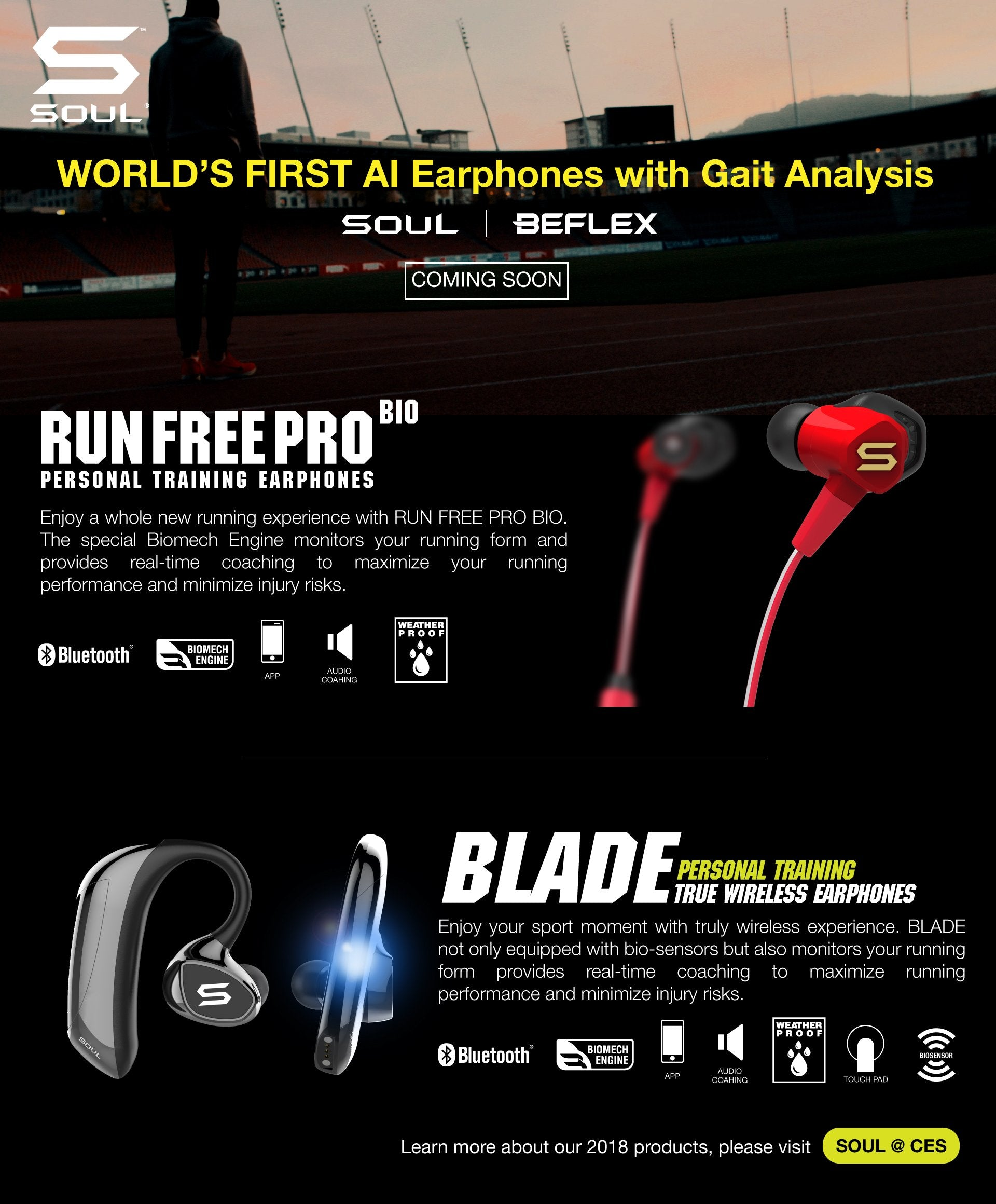 AI Earphones with Gait Analysis in CES2018 BEFLEX SOUL Electronics