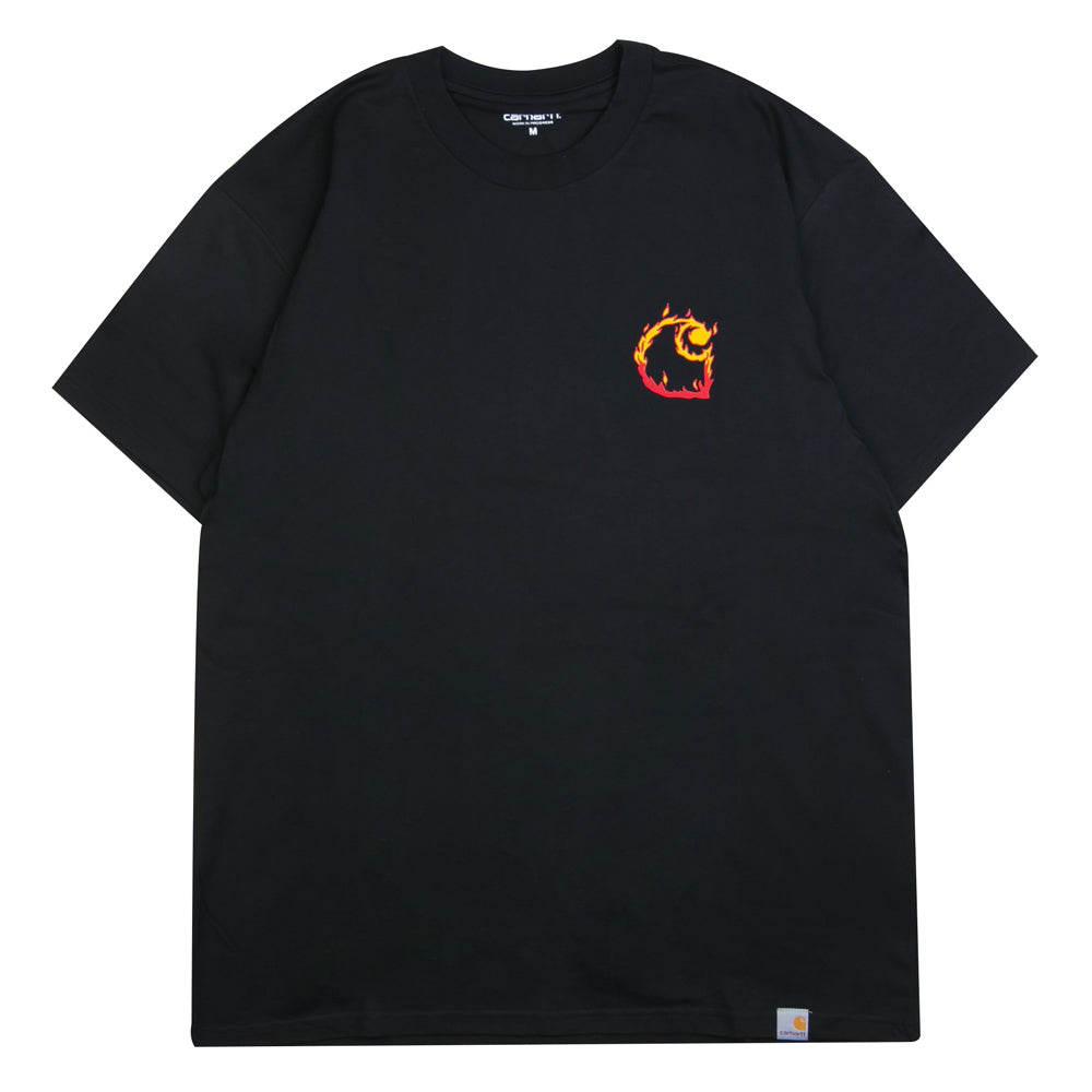 Carhartt WIP Burning C Tee | Black - CROSSOVER