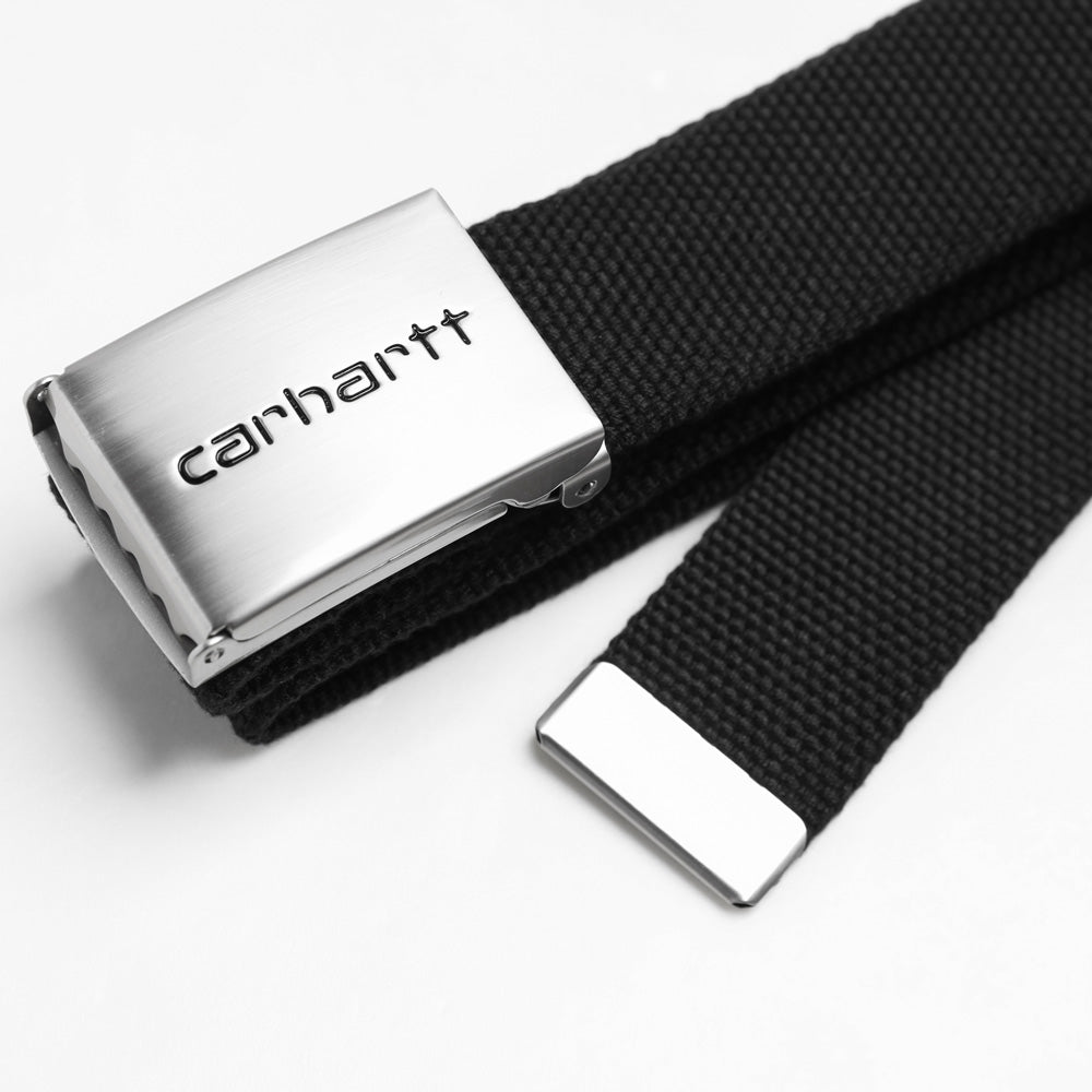 Carhartt WIP Clip Belt Chrome | Black - CROSSOVER