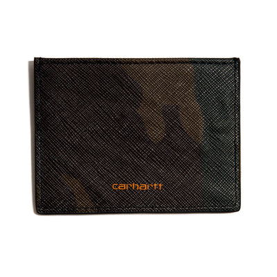 Coated Card Holder | Camo Laurel Orange