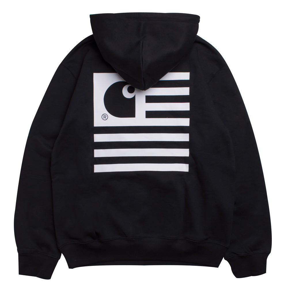 Carhartt WIP Hooded State Flag Sweat | Black - CROSSOVER ONLINE