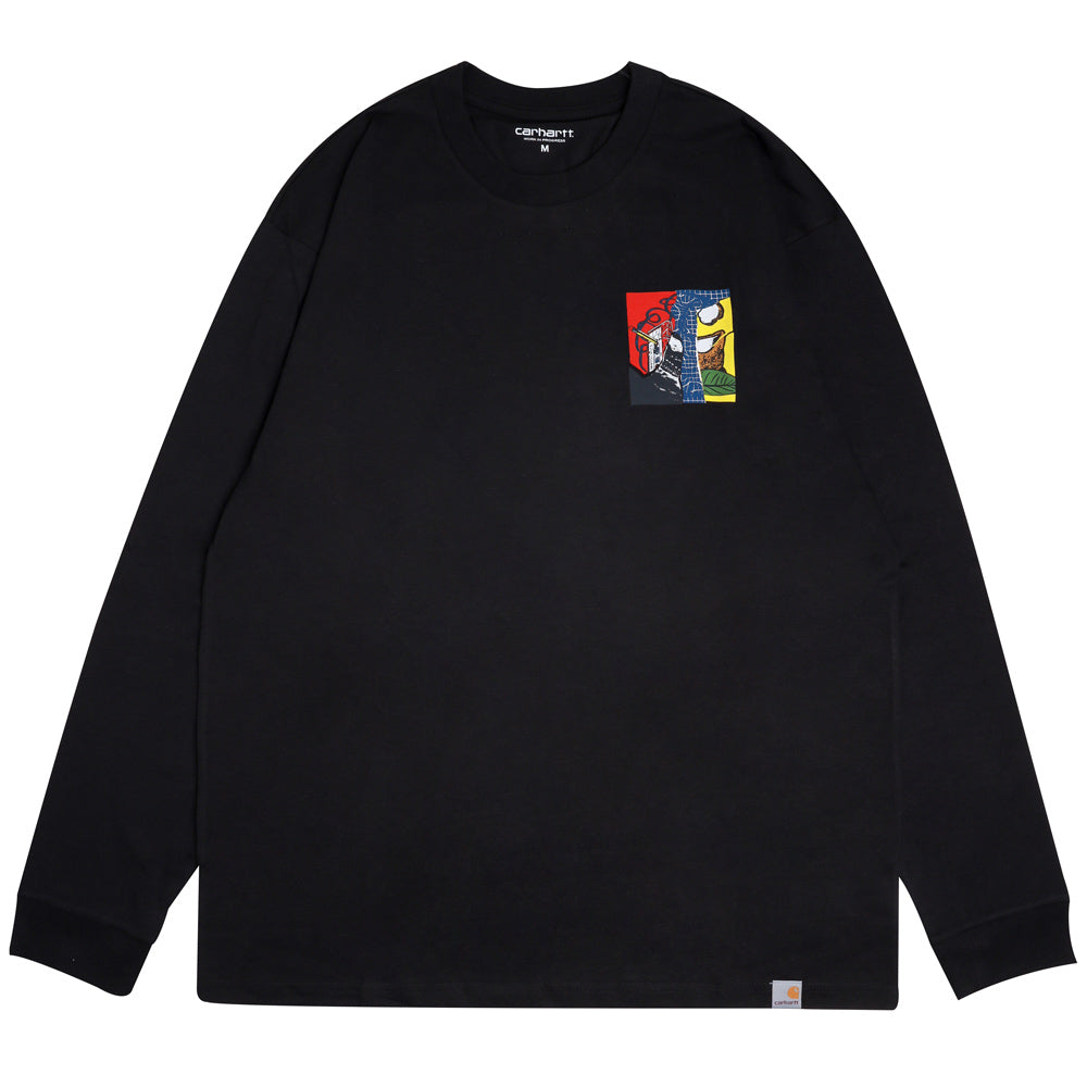 Carhartt WIP Patchwork L/S Tee | Black - CROSSOVER