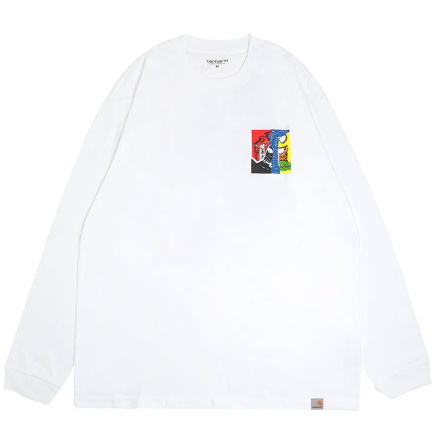 Carhartt WIP Patchwork L/S Tee | White - CROSSOVER