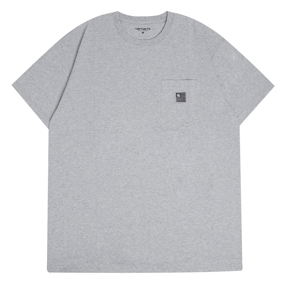 Carhartt WIP State Flag Pocket Tee | Grey Heather - CROSSOVER