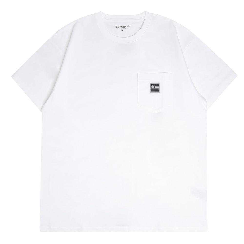 Carhartt WIP State Flag Pocket Tee | White - CROSSOVER