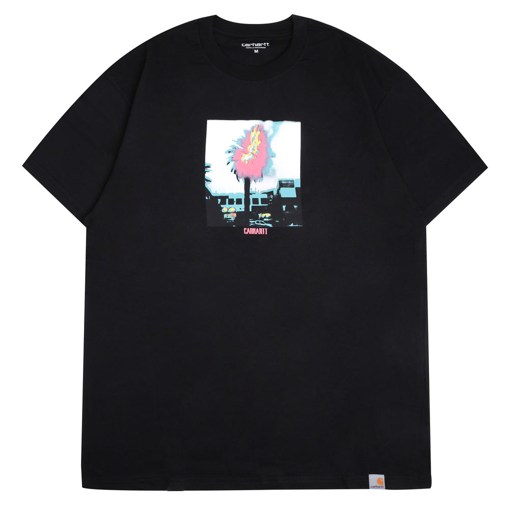 Carhartt WIP Burning Palm Tee | Black - CROSSOVER