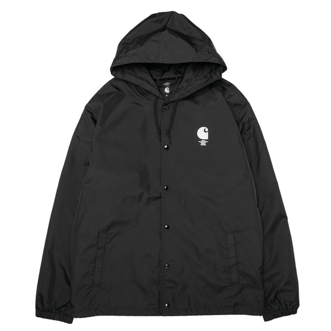 Hooded Melting Script Coach Jacket | Black