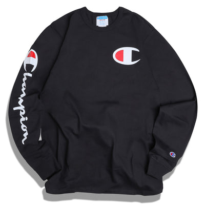 Champion Big C Logo L/S Tee | Black - CROSSOVER