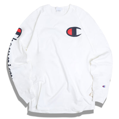 Champion Big C Logo L/S Tee | White - CROSSOVER