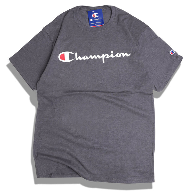 Champion Classic Script Logo Tee | Granite Heather - CROSSOVER